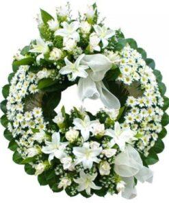 Mandar corona funeraria blanca